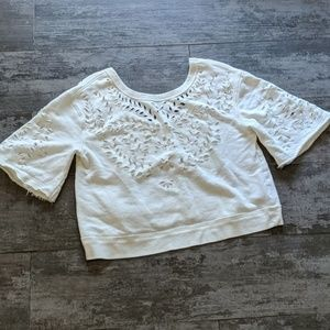 *NWOT* FREE PEOPLE Cutout Crop Sweatshirt
